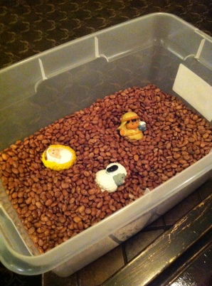 Nativity pieces in dried beans 120412