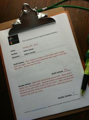 Buddy Clipboard - Participant Info Sheet