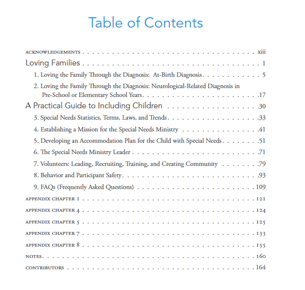 Leading a special needs ministry a practical guide to for Table of contents