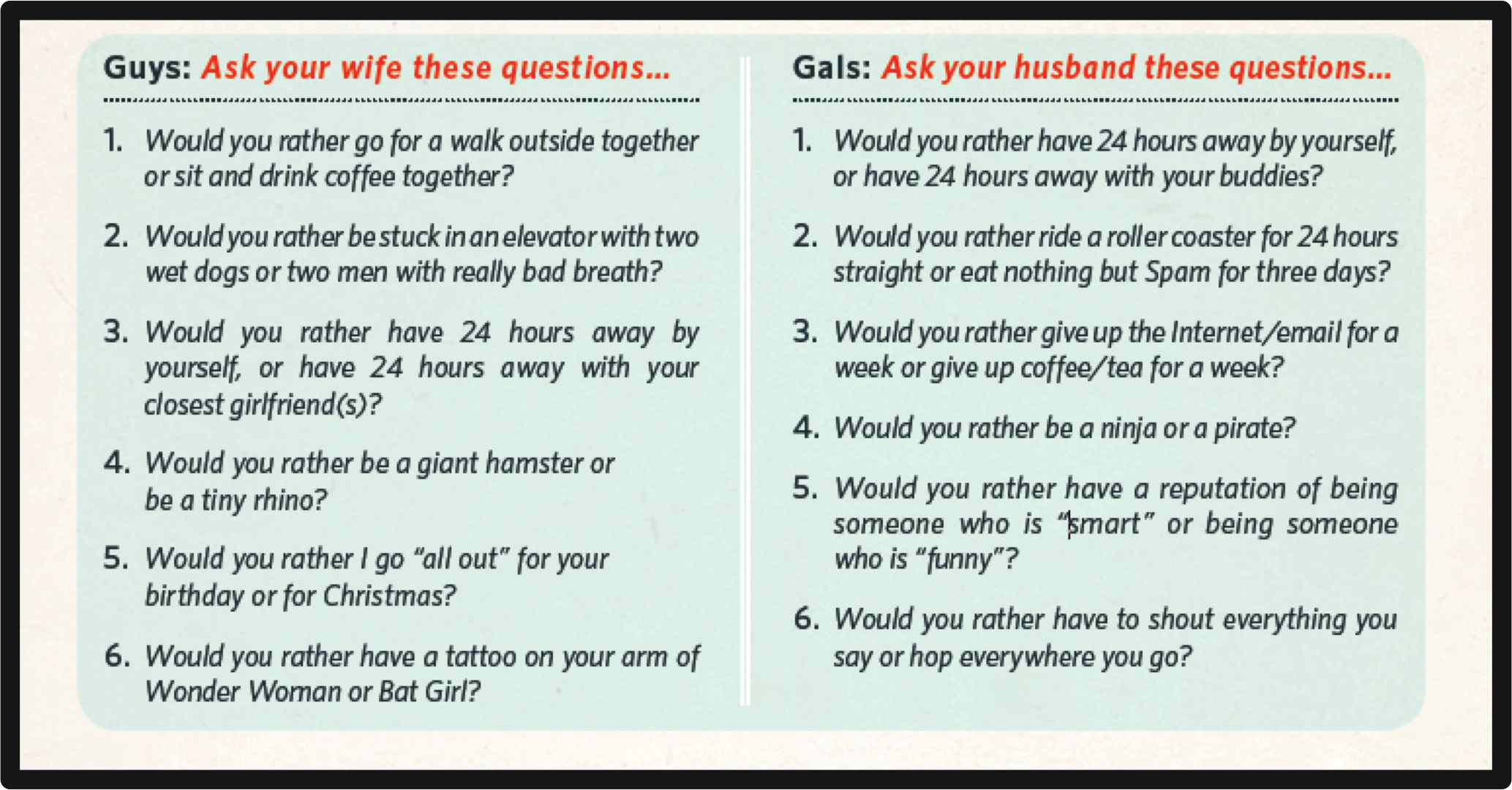 funny dating game questions